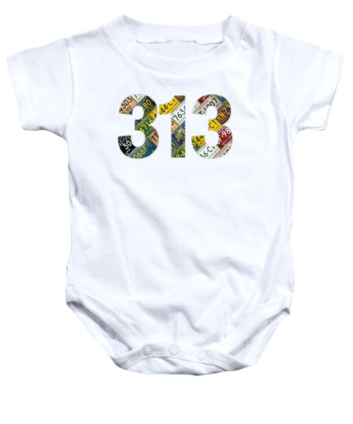 313 Area Code Detroit Michigan Recycled Vintage License Plate Art On White Background Baby Onesie
