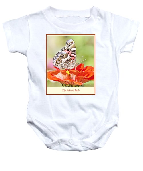 Painted Lady Butterfly On Zinnia Flower Baby Onesie