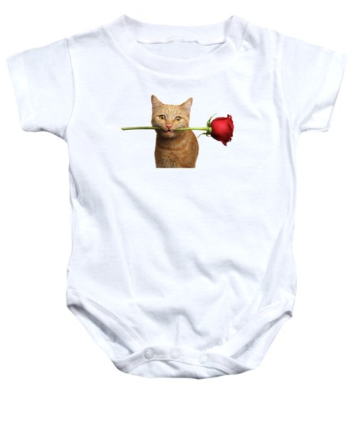 Portrait Of Ginger Cat Brought Rose As A Gift Baby Onesie