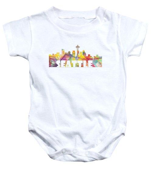 Seattle Washington Skyline Baby Onesie by Marlene Watson