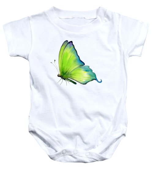 4 Skip Green Butterfly Baby Onesie by Amy Kirkpatrick