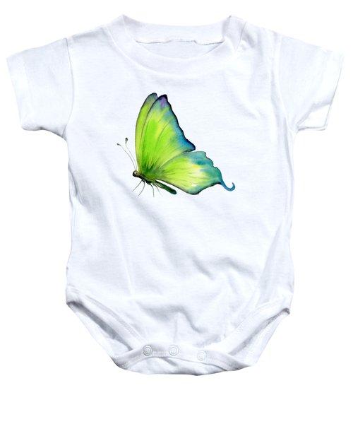 4 Skip Green Butterfly Baby Onesie by Amy Kirkpatrick