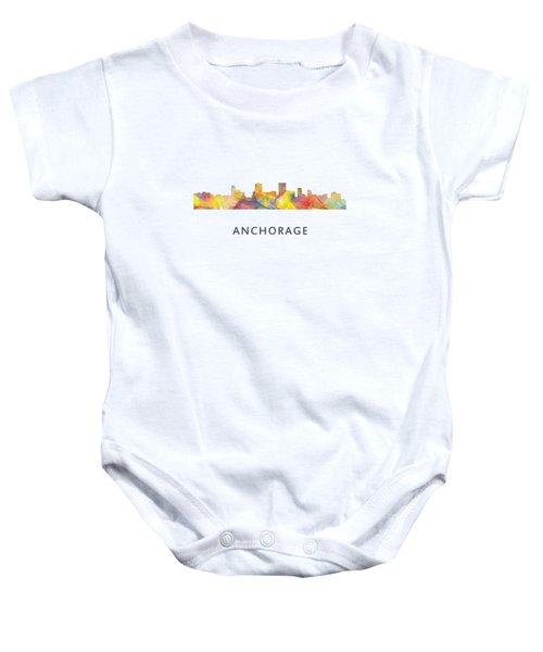 Anchorage Alaska Skyline Baby Onesie