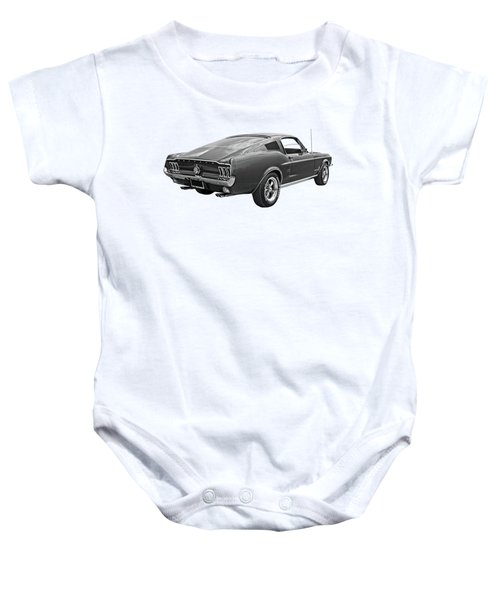 67 Fastback Mustang In Black And White Baby Onesie