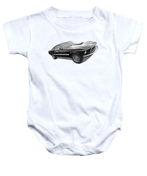 69 Mach1 In Black And White Baby Onesie