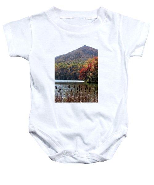 View Of Abbott Lake And Sharp Top In Autumn Baby Onesie