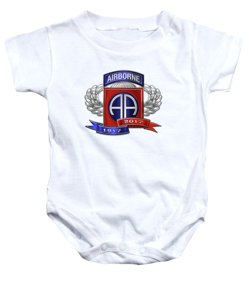 82nd Airborne Division 100th Anniversary Insignia Over White Leather Baby Onesie