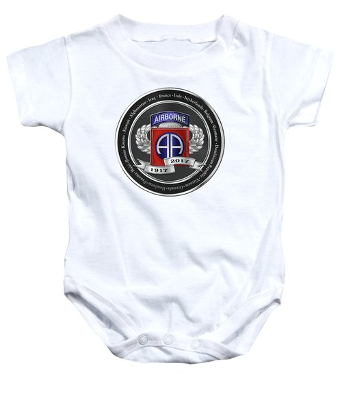 82nd Airborne Division 100th Anniversary Medallion Over White Leather Baby Onesie