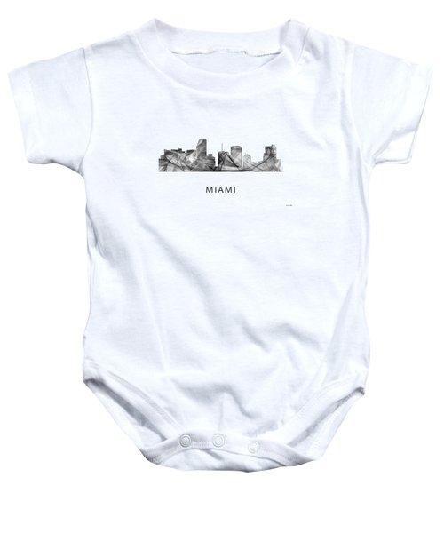 Miami Florida Skyline Baby Onesie by Marlene Watson