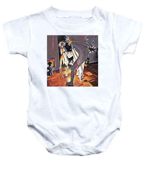 9926s-dm Watercolor Woman In White Confronts Herself In Mirror Baby Onesie