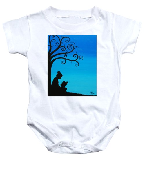 A Girl And Her Book Baby Onesie