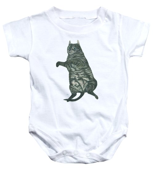 A Lazy Black Cat Lying On Floor Baby Onesie