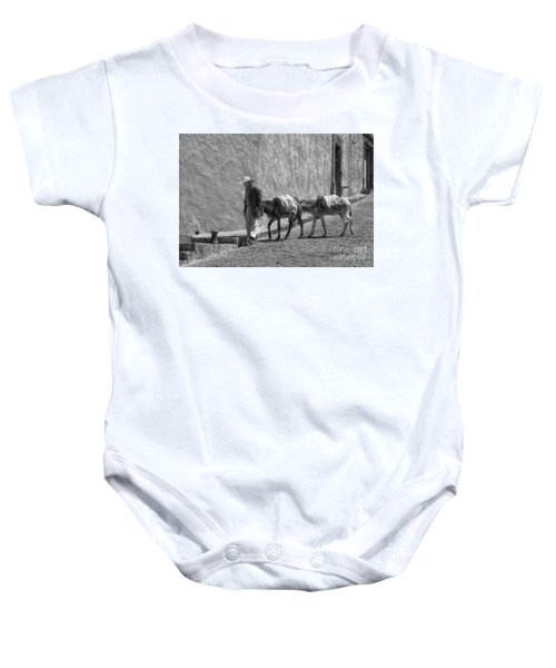 A Man With Two Burros Baby Onesie