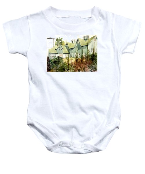 Watercolor Of An Old Wooden Barn Painted Green With Silo In The Sun Baby Onesie