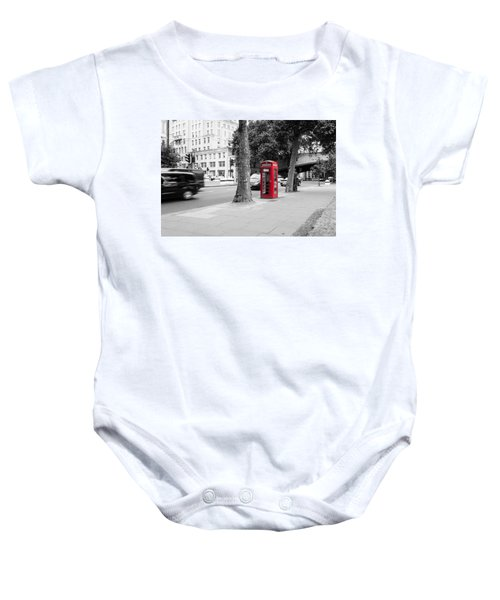 A Single Red Telephone Box On The Street Bw Baby Onesie