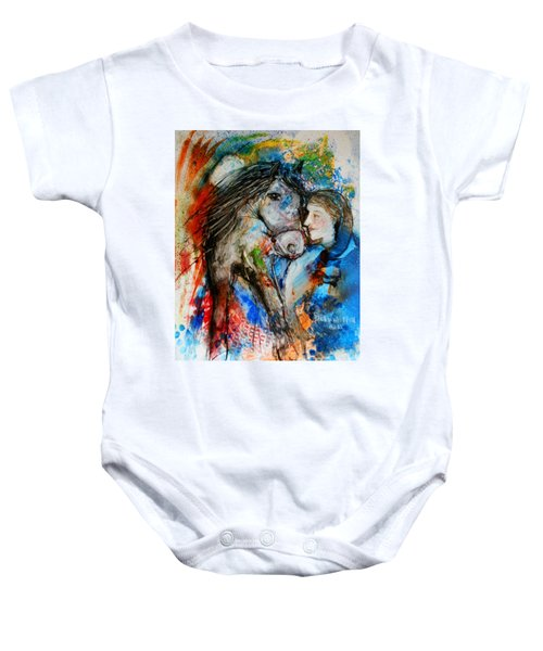 A Woman And Her Horse Baby Onesie