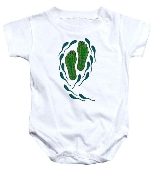 Aboriginal Footprints Green Transparent Background Baby Onesie