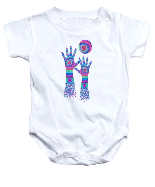 Aboriginal Hands Pastel Transparent Background Baby Onesie