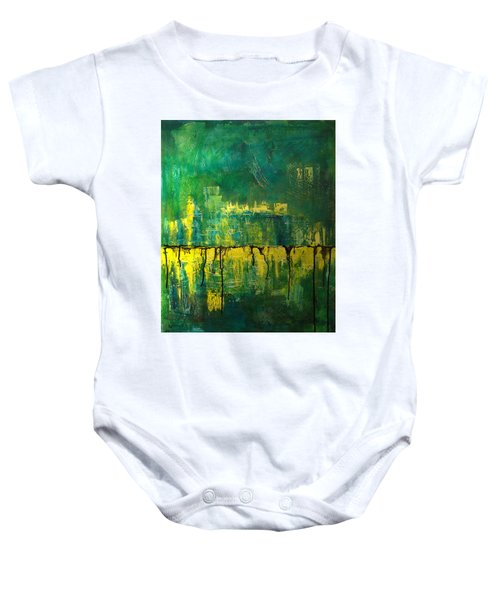 Abstract In Yellow And Green Baby Onesie