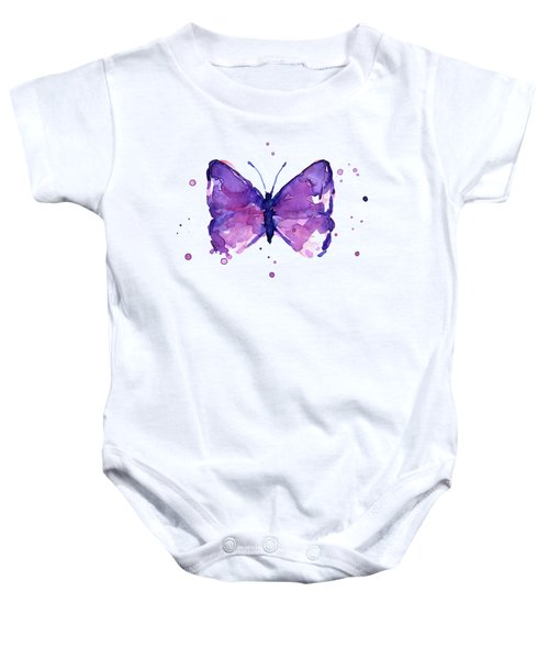 Abstract Purple Butterfly Watercolor Baby Onesie