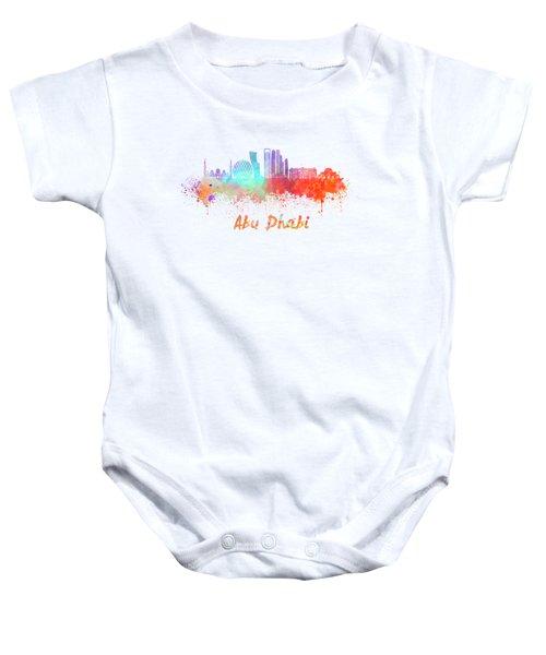 Abu Dhabi V2 Skyline In Watercolor Baby Onesie