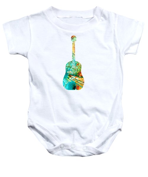Acoustic Guitar 2 - Colorful Abstract Musical Instrument Baby Onesie
