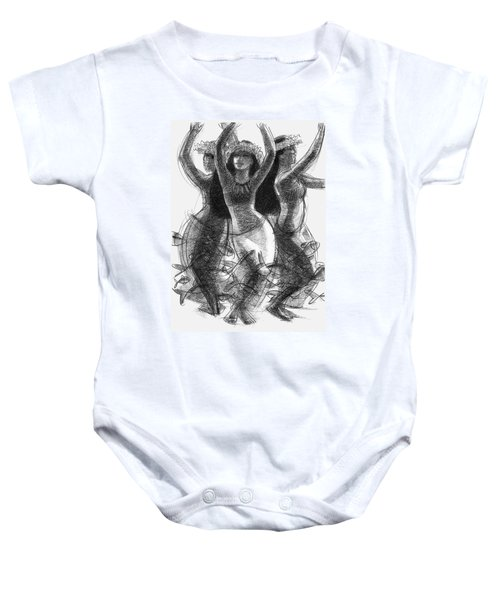 Action Song Dancers With Fish Pareu Baby Onesie