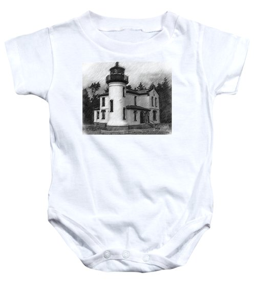 Admiralty Head Lighthouse Sketched Baby Onesie