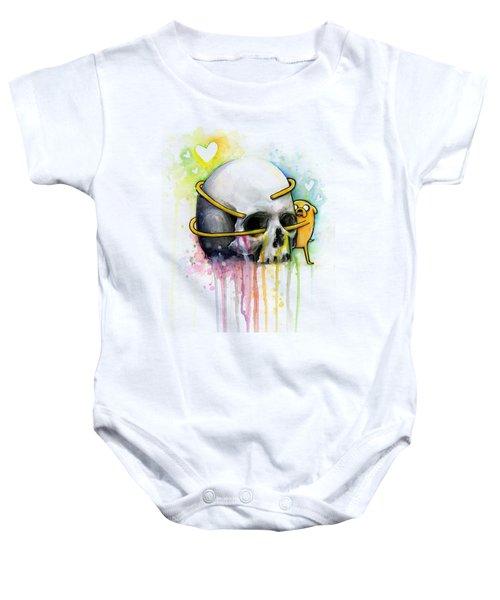 Adventure Time Jake Hugging Skull Watercolor Art Baby Onesie