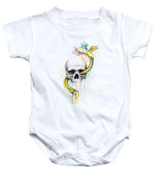 Adventure Time Skull Jake Finn Lady Rainicorn Watercolor Baby Onesie