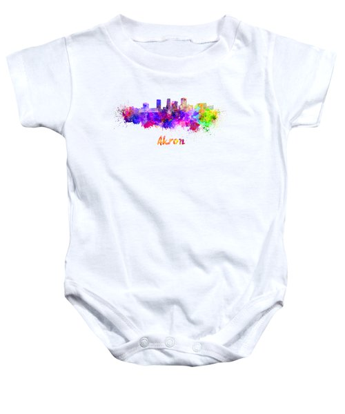 Akron Oh Skyline In Watercolor Baby Onesie