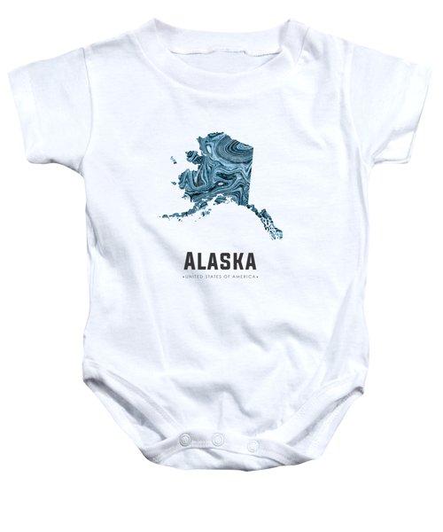 Alaska Map Art Abstract In Blue Baby Onesie