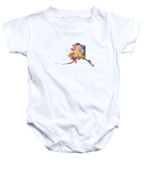 Alaska Us State In Watercolor Text Cut Out Baby Onesie