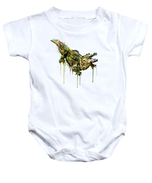 Alligator Watercolor Painting Baby Onesie by Marian Voicu