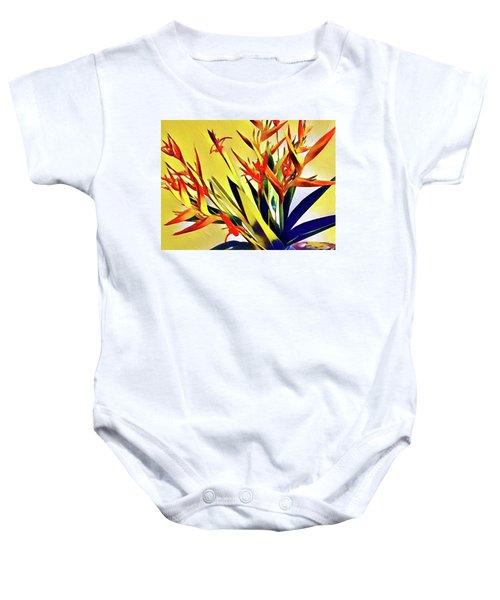 Aloha Bouquet Of The Day - Halyconia Birds In Orange Baby Onesie