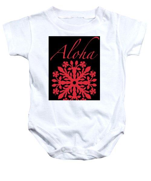 Aloha Red Hibiscus Quilt T-shirt Baby Onesie