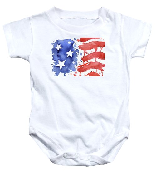 American Flag Watercolor Painting Baby Onesie