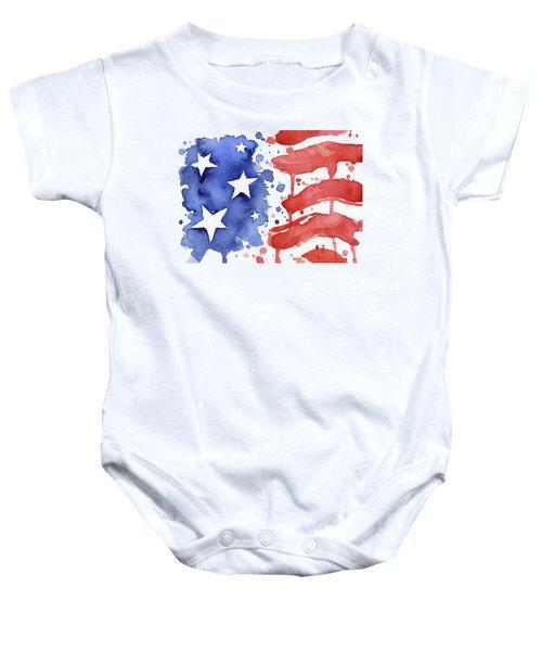 American Flag Watercolor Painting Baby Onesie