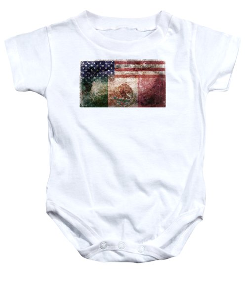 American Mexican Tattered Flag  Baby Onesie