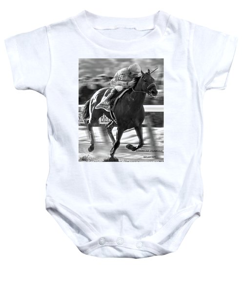 American Pharoah And Victor Espinoza Win The 2015 Belmont Stakes Baby Onesie by Thomas Pollart