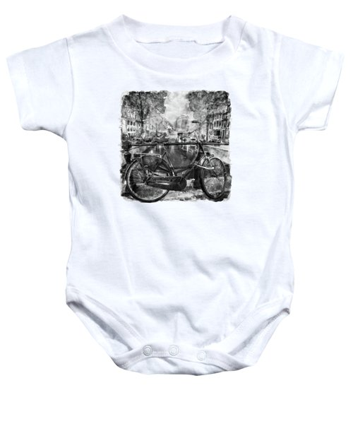 Amsterdam Bicycle Black And White Baby Onesie