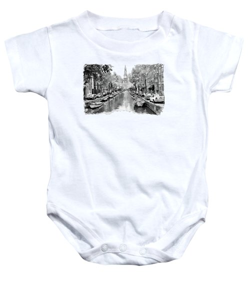 Amsterdam Canal 2 Black And White Baby Onesie by Marian Voicu