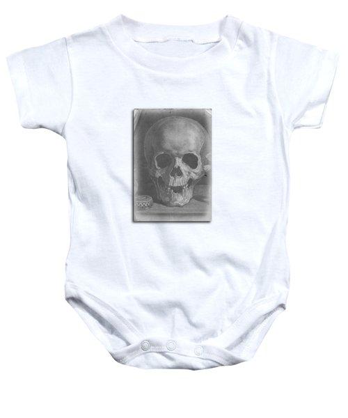 Ancient Skull Tee Baby Onesie by Edward Fielding