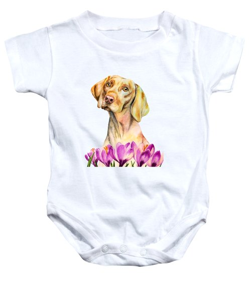Angelic - Vizsla Dog And Crocus Watercolor Painting Baby Onesie