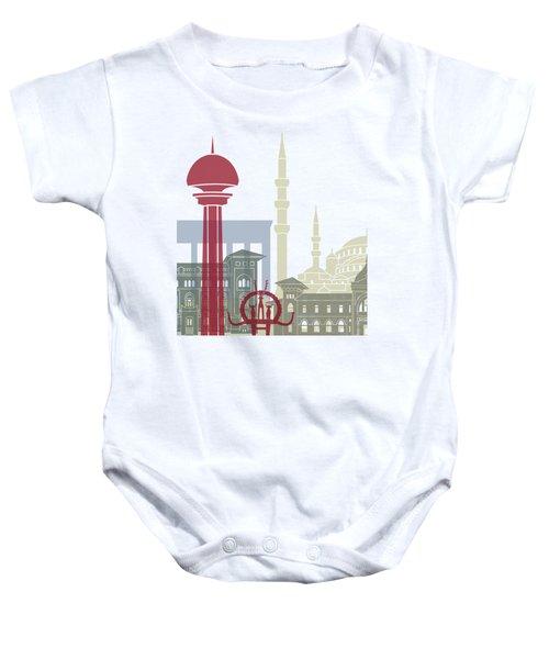 Ankara Skyline Poster Baby Onesie by Pablo Romero