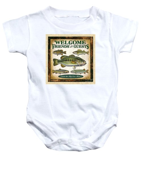 Antique Lure Fish Panel Three Baby Onesie