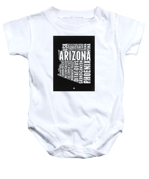 Arizona Black And White Word Cloud Map Baby Onesie by Naxart Studio
