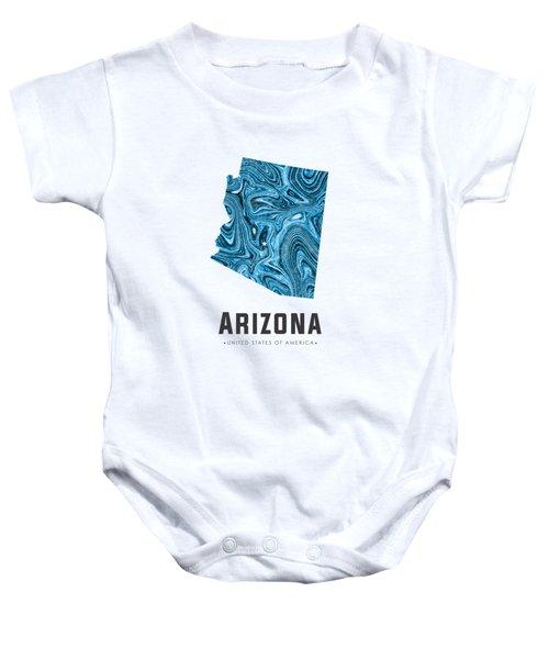 Arizona Map Art Abstract In Blue Baby Onesie