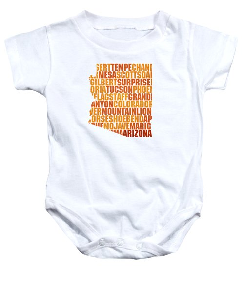 Arizona State Outline Word Map Baby Onesie by Design Turnpike