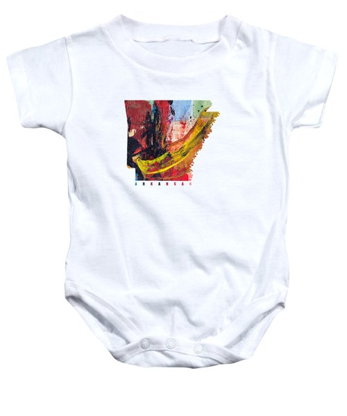 Arkansas Map Art - Painted Map Of Arkansas Baby Onesie